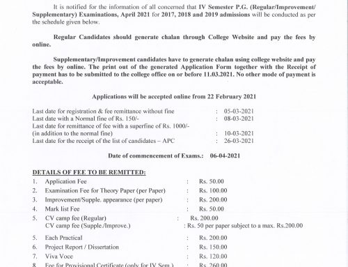 IV sem PG Regular\Supple. & Improve. Exams, April 2021 Regn. Notification